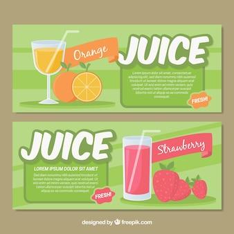 Bannières de jus de fruits en conception plate