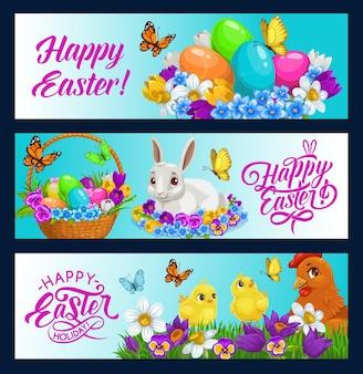 Bannières de lapin de pâques de conception de vacances de chasse aux œufs