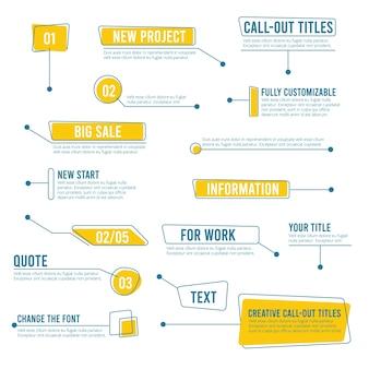 Bannières de légende. étiquettes numériques modèles de texte de boîtes sociales infographie de cartes graphiques. appelez la forme pour l'illustration des informations de message