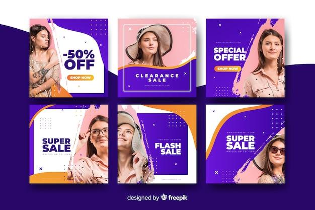 Bannières en ligne avec des offres de vêtements pour femmes