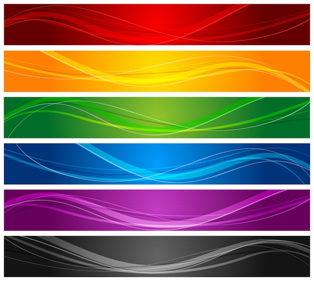 Bannières de lignes ondulées colorées
