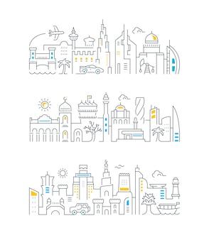 Bannières linéaires de dubaï, bahreïn, qatar