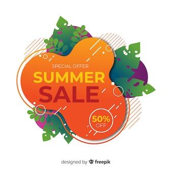 Bannières liquides de soldes d'été