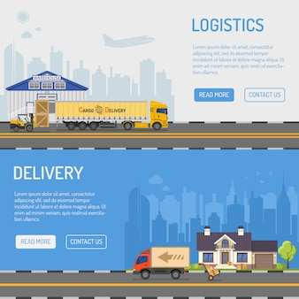 Bannières de livraison et de logistique d'entrepôt