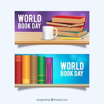 Bannières avec des livres colorés