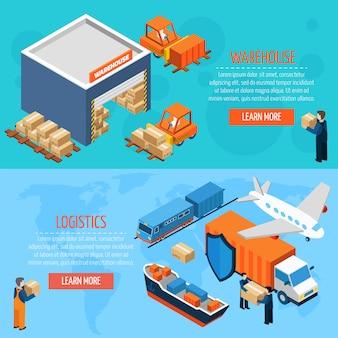 Bannières de logistique d'entrepôt isométrique