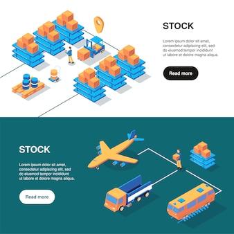 Bannières de logistique isométrique sertie de texte plus de bouton et d'installations de stockage avec différents types d'illustration vectorielle de transport