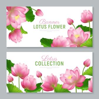Bannières lotus réalistes