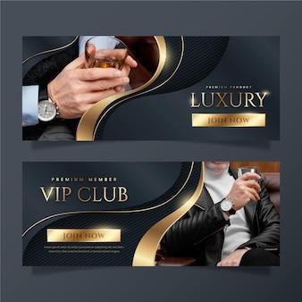 Bannières de luxe dorées dégradées avec photo