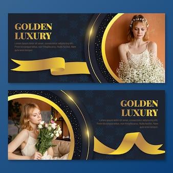 Bannières de luxe dorées avec photo
