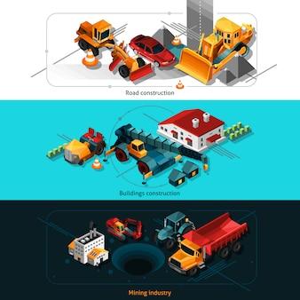 Bannières de machines de construction isométriques