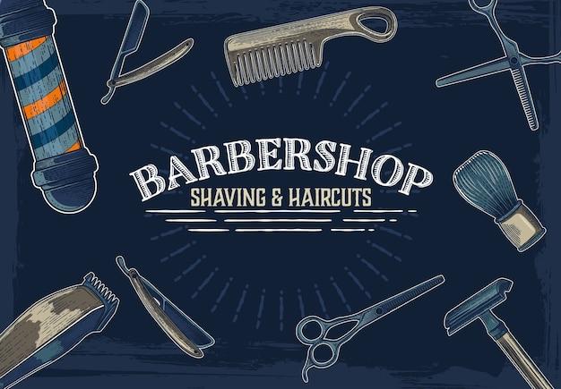 Bannières de magasin de coiffeur vecteur dessiné à la main