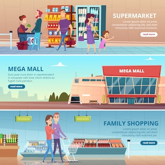 Bannières de magasinage. les gens dans l'épicerie marché alimentaire détaillants gastronomiques étagères centre commercial illustrations intérieures
