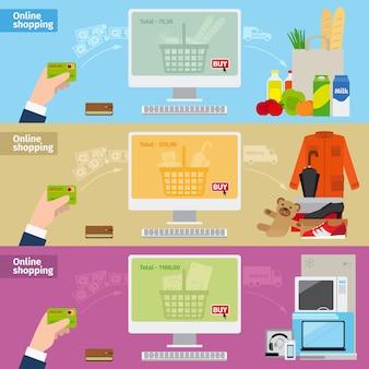 Bannières de magasinage en ligne vecteur