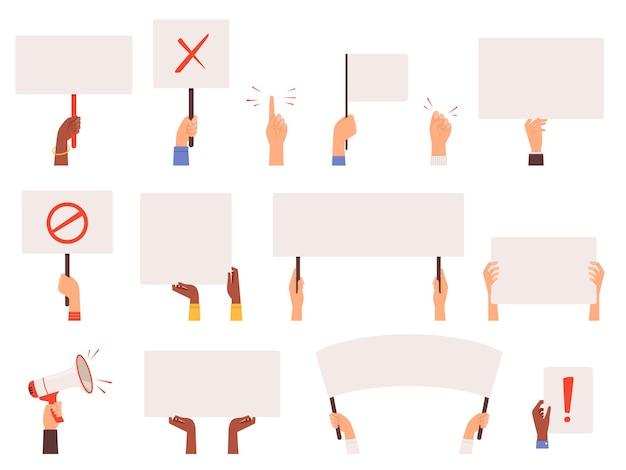Bannières des manifestants. main dans la main collection de manifestation de signes blancs piquet politique