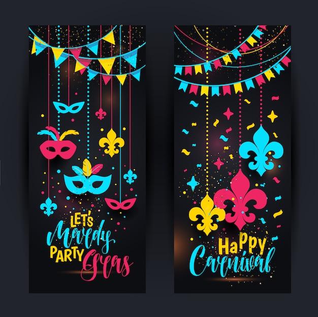 Bannières mardi gras colorées avec un masque