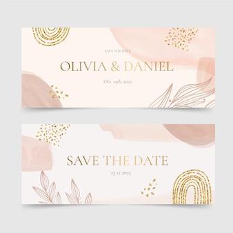 Bannières de mariage aquarelle dessinés à la main horizontales