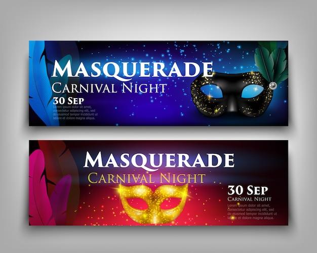 Bannières de masque de mascarade