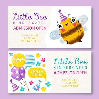 Bannières de maternelle petite abeille