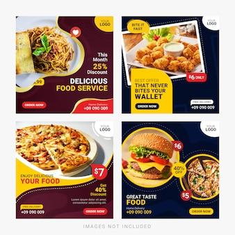 Bannières de médias sociaux alimentaires post ensemble de modèles