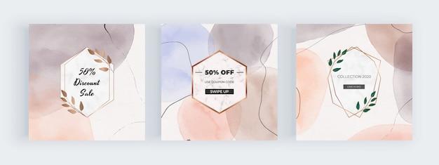 Bannières de médias sociaux aquarelle à main levée avec des formes géométriques peintes à la main avec des cadres en marbre
