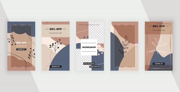 Bannières de médias sociaux avec un design géométrique abstrait avec des couleurs, des feuilles et des lignes peintes à la main de couleurs roses, brunes et bleues.