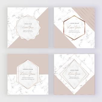 Bannières de médias sociaux géométriques avec des formes de triangles nus et des lignes dorées sur la texture du marbre.