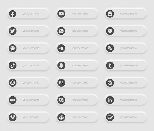 Bannières médias sociaux populaires icônes du tiers inférieur
