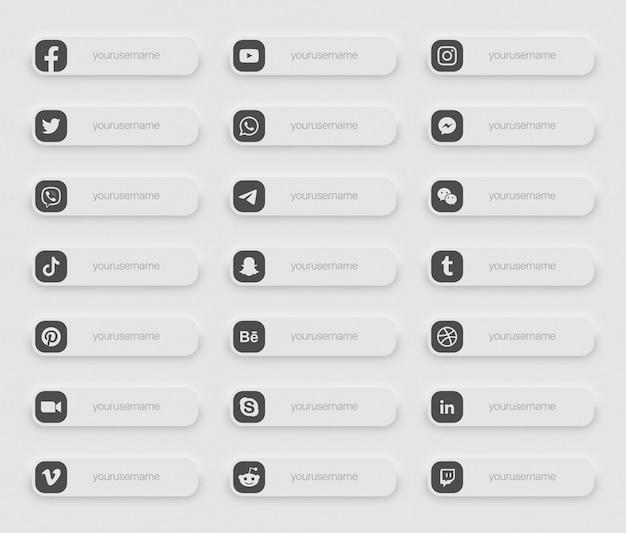 Bannières médias sociaux populaires inférieures troisième icônes