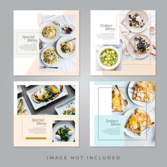 Bannières de médias sociaux de restaurants alimentaires