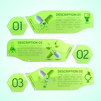 Bannières médicales avec capsules médicinales, notice et différents objets médicaux