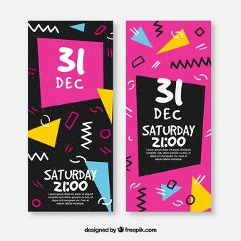 Bannières de memphis du nouvel an