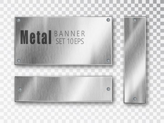 Bannières en métal définies réalistes.