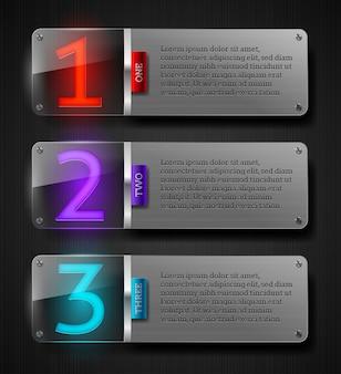 Bannières métalliques texturées avec numéros lumineux et espace pour le texte.