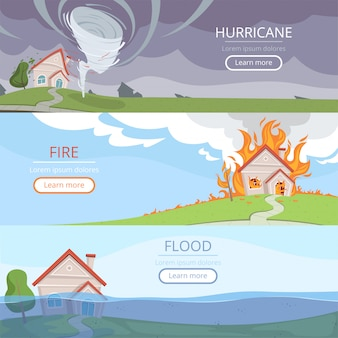 Bannières météorologiques en cas de catastrophe. tsunami volcan vent tempête pluie maison dommages de la foudre des images vectorielles avec place pour le texte