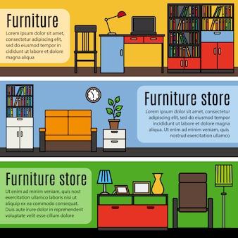 Bannières de meubles colorés avec un espace pour le texte