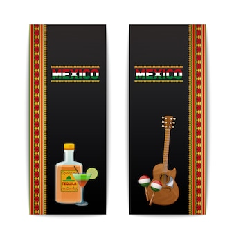 Bannières mexicaines verticales sertie de maraca cocktail tequila et illustration vectorielle guitare isolé