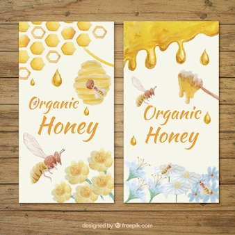 Bannières de miel peintes à l'aquarelle
