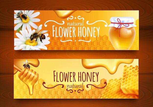Bannières de miel réalistes