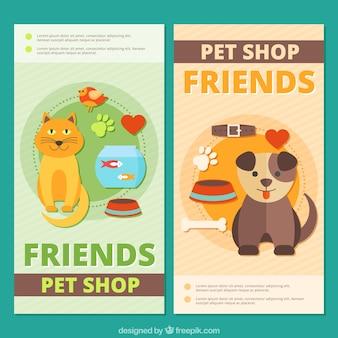 Bannières mignons avec différents animaux de compagnie