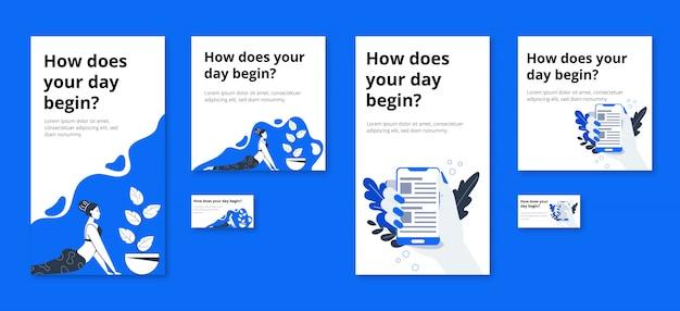 Bannières minimalistes pour la publicité sur les réseaux sociaux