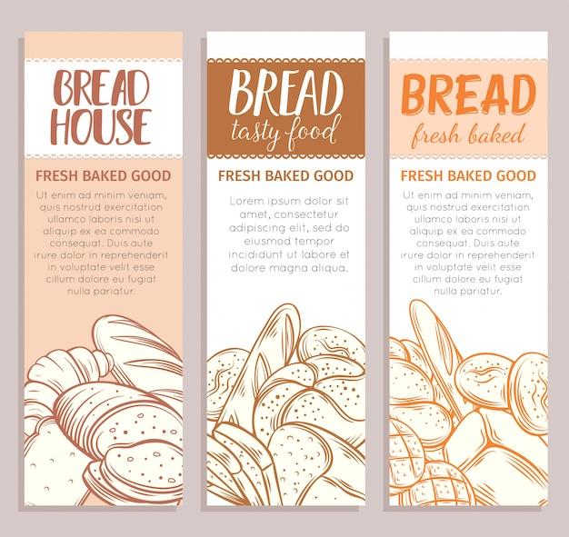 Bannières de modèle alimentaire avec produit de pain. croquis dessiné main pain de seigle et de blé, croissant, pain de grains entiers, bagel, pain grillé, baguette française pour la boulangerie de menu design.
