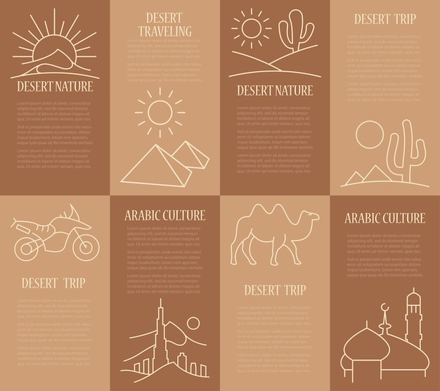 Bannières de modèle définies avec l'arabe. flyer avec des éléments linéaires arabes sur brun.