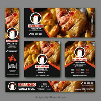 Bannières modernes avec poulet rôti