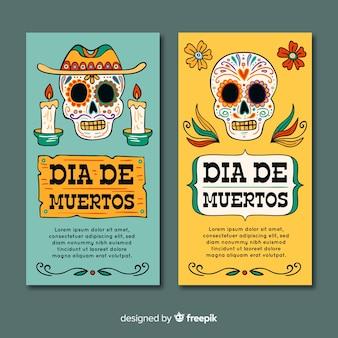 Bannières modernes de crânes día de muertos vue de face