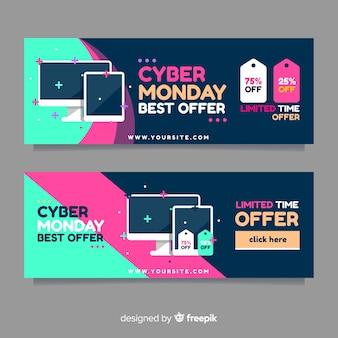 Bannières modernes cyber lundi avec design plat