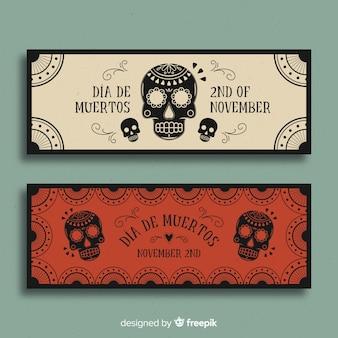Bannières modernes de día de muertos