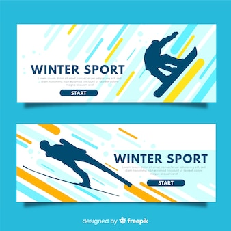 Bannières modernes de sports d'hiver