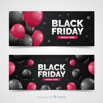 Bannières modernes de vendredi noir avec des ballons réalistes