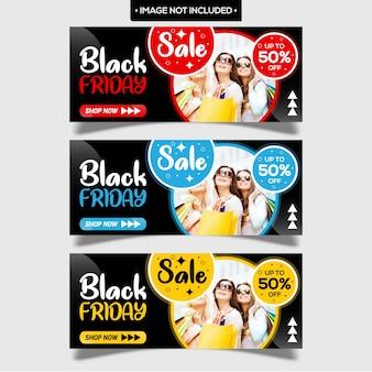 Bannières modernes vendredi noir avec design plat